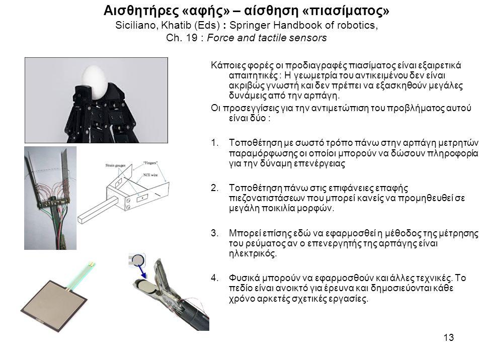 Αισθητήρες «αφής» – αίσθηση «πιασίματος» Siciliano, Khatib (Eds) : Springer Handbook of robotics, Ch. 19 : Force and tactile sensors 13 Κάποιες φορές