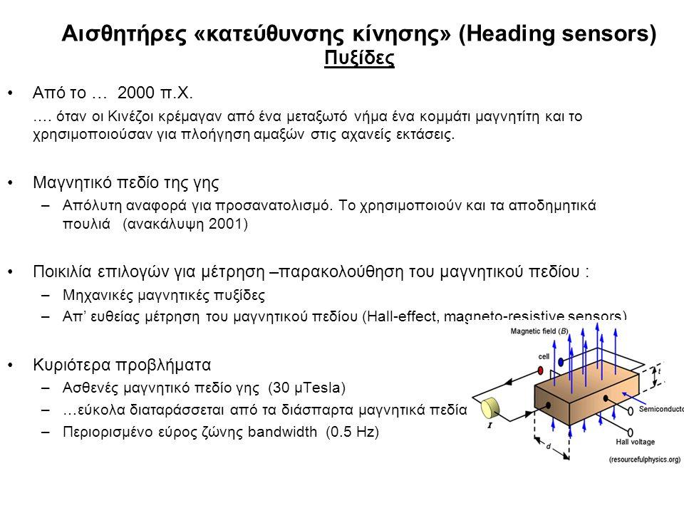 Αισθητήρες «κατεύθυνσης κίνησης» (Heading sensors) Πυξίδες Από το … 2000 π.Χ. …. όταν οι Κινέζοι κρέμαγαν από ένα μεταξωτό νήμα ένα κομμάτι μαγνητίτη