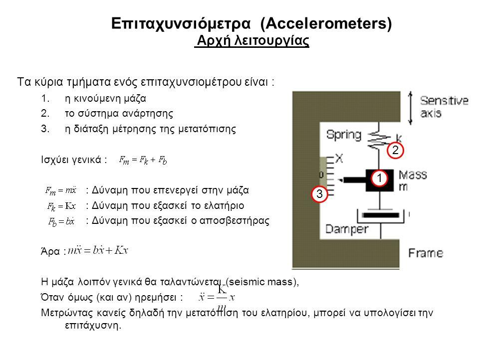 Επιταχυνσιόμετρα (Accelerometers) Αρχή λειτουργίας Τα κύρια τμήματα ενός επιταχυνσιομέτρου είναι : 1.η κινούμενη μάζα 2.το σύστημα ανάρτησης 3.η διάταξη μέτρησης της μετατόπισης Ισχύει γενικά : : Δύναμη που επενεργεί στην μάζα : Δύναμη που εξασκεί το ελατήριο : Δύναμη που εξασκεί ο αποσβεστήρας Άρα : Η μάζα λοιπόν γενικά θα ταλαντώνεται (seismic mass), Όταν όμως (και αν) ηρεμήσει : Μετρώντας κανείς δηλαδή την μετατόπιση του ελατηρίου, μπορεί να υπολογίσει την επιτάχυσνη.