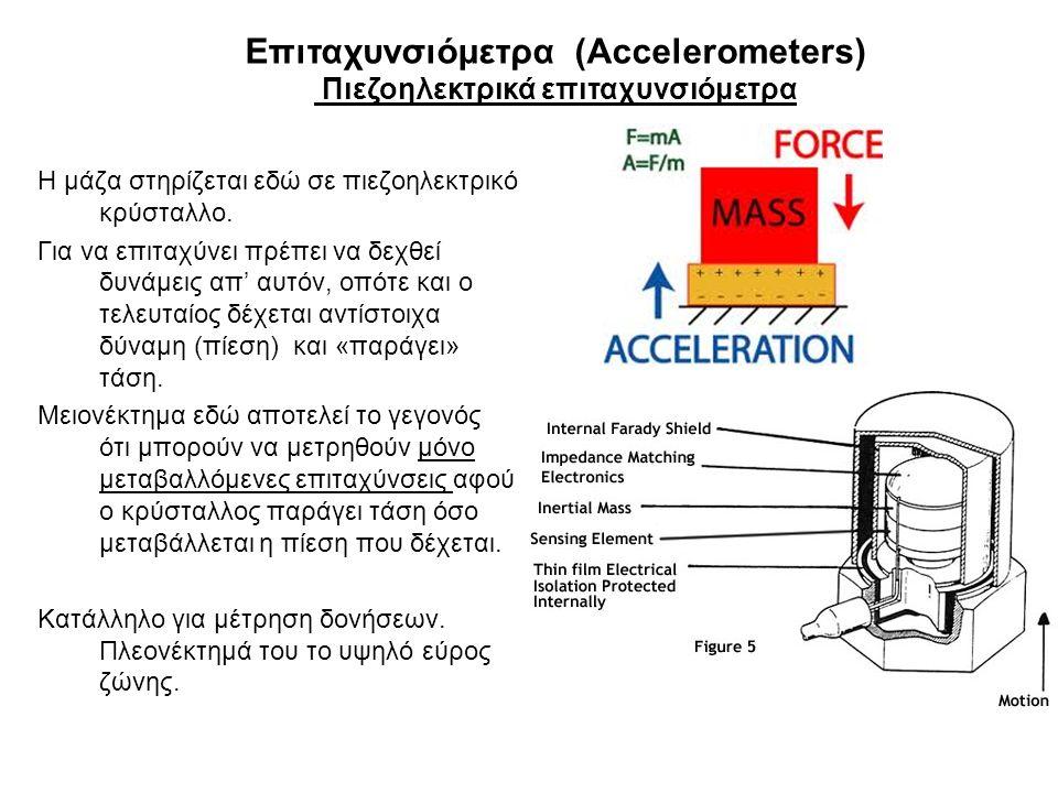Επιταχυνσιόμετρα (Accelerometers) Πιεζοηλεκτρικά επιταχυνσιόμετρα Η μάζα στηρίζεται εδώ σε πιεζοηλεκτρικό κρύσταλλο. Για να επιταχύνει πρέπει να δεχθε