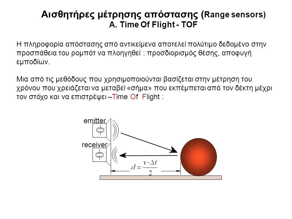 Αισθητήρες μέτρησης απόστασης ( Range sensors) A. Time Of Flight - TOF Η πληροφορία απόστασης από αντικείμενα αποτελεί πολύτιμο δεδομένο στην προσπάθε