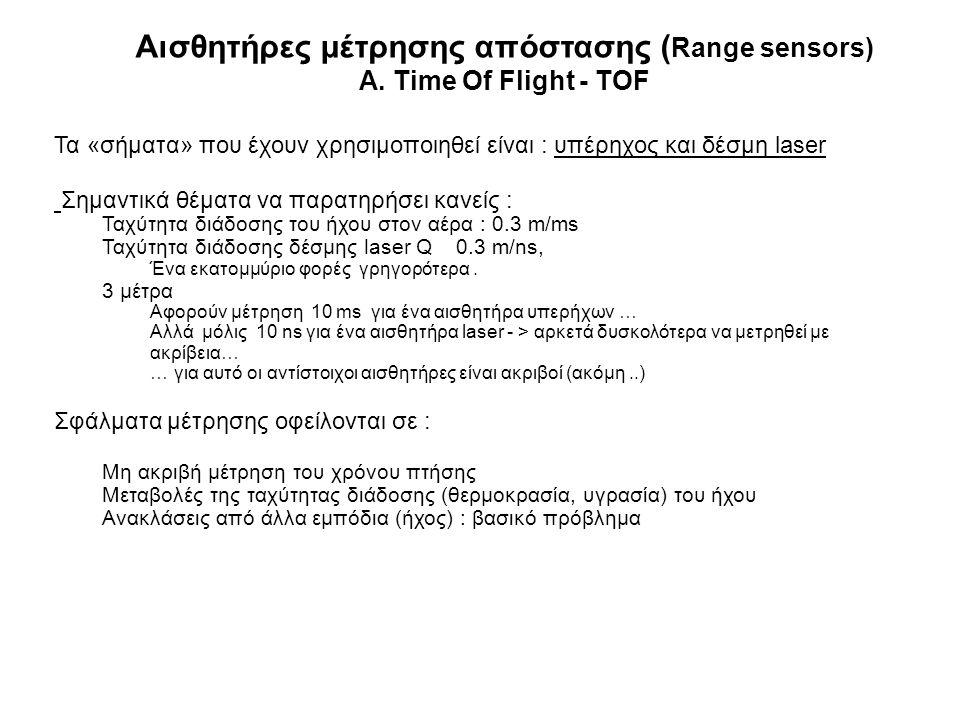 Αισθητήρες μέτρησης απόστασης ( Range sensors) A. Time Of Flight - TOF Τα «σήματα» που έχουν χρησιμοποιηθεί είναι : υπέρηχος και δέσμη laser Σημαντικά