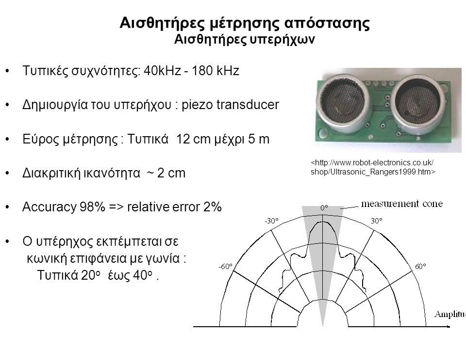 Αισθητήρες μέτρησης απόστασης Αισθητήρες υπερήχων Τυπικές συχνότητες: 40kHz - 180 kHz Δημιουργία του υπερήχου : piezo transducer Εύρος μέτρησης : Τυπικά 12 cm μέχρι 5 m Διακριτική ικανότητα ~ 2 cm Accuracy 98% => relative error 2% Ο υπέρηχος εκπέμπεται σε κωνική επιφάνεια με γωνία : Τυπικά 20 ο έως 40 ο.
