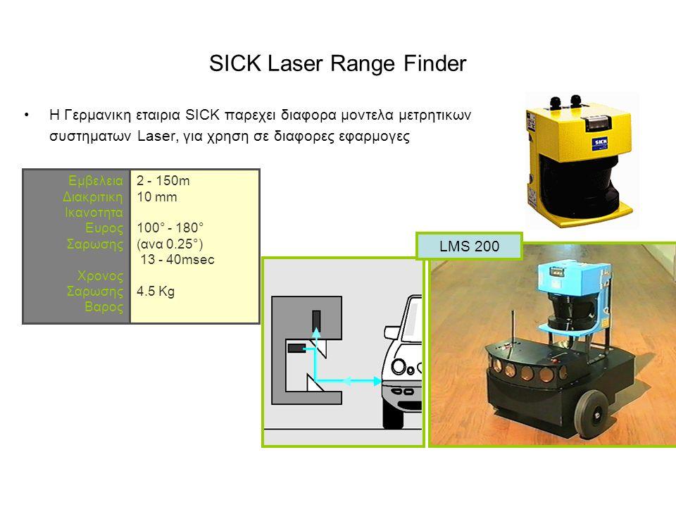 SICK Laser Range Finder H Γερμανικη εταιρια SICK παρεχει διαφορα μοντελα μετρητικων συστηματων Laser, για χρηση σε διαφορες εφαρμογες LMS 200 Eμβελεια Διακριτικη Iκανοτητα Eυρος Σαρωσης Xρονος Σαρωσης Βαρος 2 - 150m 10 mm 100° - 180° (ανα 0.25°) 13 - 40msec 4.5 Kg