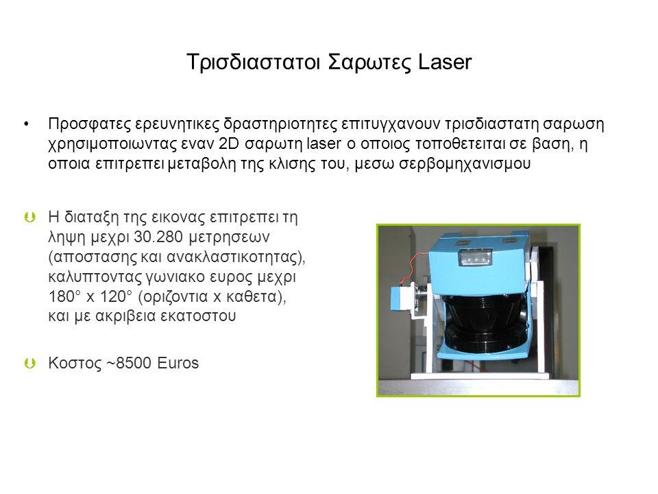 Tρισδιαστατοι Σαρωτες Laser Προσφατες ερευνητικες δραστηριοτητες επιτυγχανουν τρισδιαστατη σαρωση χρησιμοποιωντας εναν 2D σαρωτη laser ο οποιος τοποθετειται σε βαση, η οποια επιτρεπει μεταβολη της κλισης του, μεσω σερβομηχανισμου  H διαταξη της εικονας επιτρεπει τη ληψη μεχρι 30.280 μετρησεων (αποστασης και ανακλαστικοτητας), καλυπτοντας γωνιακο ευρος μεχρι 180° x 120° (οριζοντια x καθετα), και με ακριβεια εκατοστου  Kοστος ~8500 Euros
