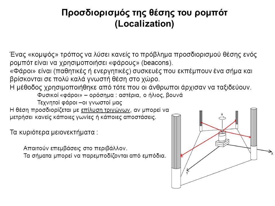 Προσδιορισμός της θέσης του ρομπότ (Localization) Ένας «κομψός» τρόπος να λύσει κανείς το πρόβλημα προσδιορισμού θέσης ενός ρομπότ είναι να χρησιμοποιήσει «φάρους» (beacons).