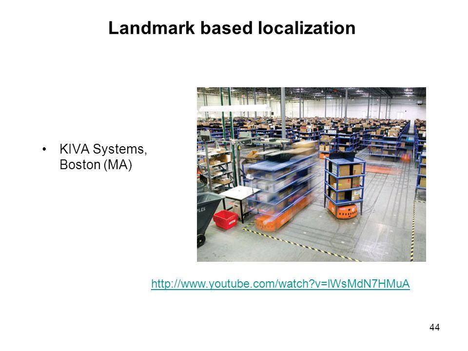 Landmark based localization 44 KIVA Systems, Boston (MA) http://www.youtube.com/watch?v=lWsMdN7HMuA