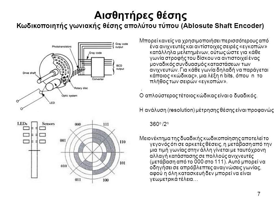 Αισθητήρες θέσης Κωδικοποιητής γωνιακής θέσης απολύτου τύπου (Ablosute Shaft Encoder) 7 Μπορεί κανείς να χρησιμοποιήσει περισσότερους από ένα ανιχνευτές και αντίστοιχες σειρές «εγκοπών» κατάλληλα μελετημένων, ούτως ώστε για κάθε γωνία στροφής του δίσκου να αντιστοιχεί ένας μοναδικός συνδυασμός καταστάσεων των ανιχνευτών.