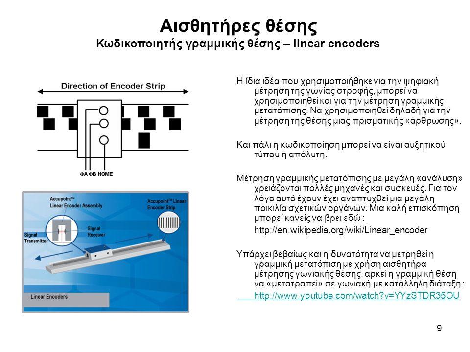 Αισθητήρες θέσης Κωδικοποιητής γραμμικής θέσης – linear encoders 9 Η ίδια ιδέα που χρησιμοποιήθηκε για την ψηφιακή μέτρηση της γωνίας στροφής, μπορεί να χρησιμοποιηθεί και για την μέτρηση γραμμικής μετατόπισης.