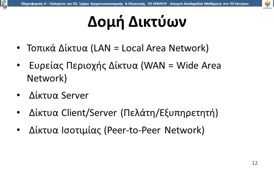 1212 Πληροφορική ΙI – Πολυμέσα και ΠΣ, Τμήμα Χρηματοοικονομικής & Ελεγκτικής, ΤΕΙ ΗΠΕΙΡΟΥ - Ανοιχτά Ακαδημαϊκά Μαθήματα στο ΤΕΙ Ηπείρου Δομή Δικτύων 12 Τοπικά Δίκτυα (LAN = Local Area Network) Ευρείας Περιοχής Δίκτυα (WAN = Wide Area Network) Δίκτυα Server Δίκτυα Client/Server (Πελάτη/Εξυπηρετητή) Δίκτυα Ισοτιμίας (Peer-to-Peer Network)