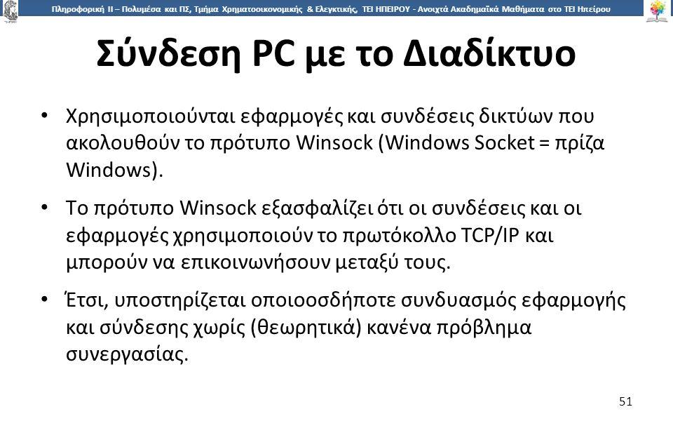 5151 Πληροφορική ΙI – Πολυμέσα και ΠΣ, Τμήμα Χρηματοοικονομικής & Ελεγκτικής, ΤΕΙ ΗΠΕΙΡΟΥ - Ανοιχτά Ακαδημαϊκά Μαθήματα στο ΤΕΙ Ηπείρου Σύνδεση PC με το Διαδίκτυο 51 Χρησιμοποιούνται εφαρμογές και συνδέσεις δικτύων που ακολουθούν το πρότυπο Winsock (Windows Socket = πρίζα Windows).