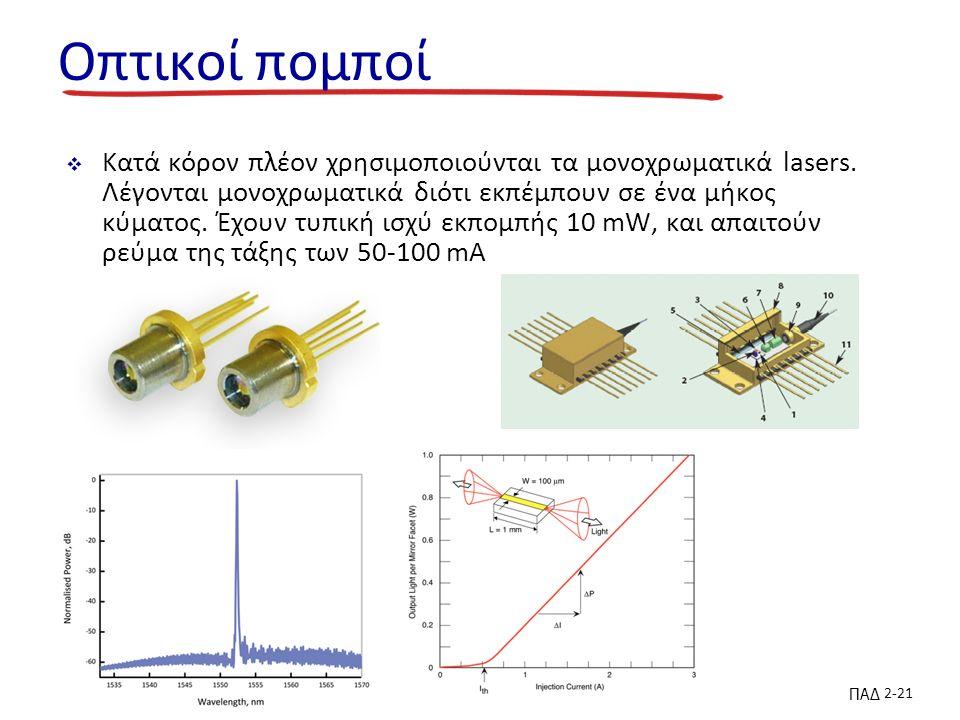 ΠΑΔ 2-21 Οπτικοί πομποί  Κατά κόρον πλέον χρησιμοποιούνται τα μονοχρωματικά lasers.