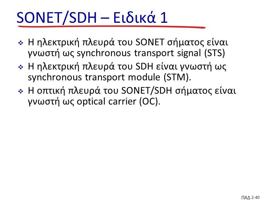 ΠΑΔ 2-40 SONET/SDH – Ειδικά 1  Η ηλεκτρική πλευρά του SONET σήματος είναι γνωστή ως synchronous transport signal (STS)  Η ηλεκτρική πλευρά του SDH είναι γνωστή ως synchronous transport module (STM).