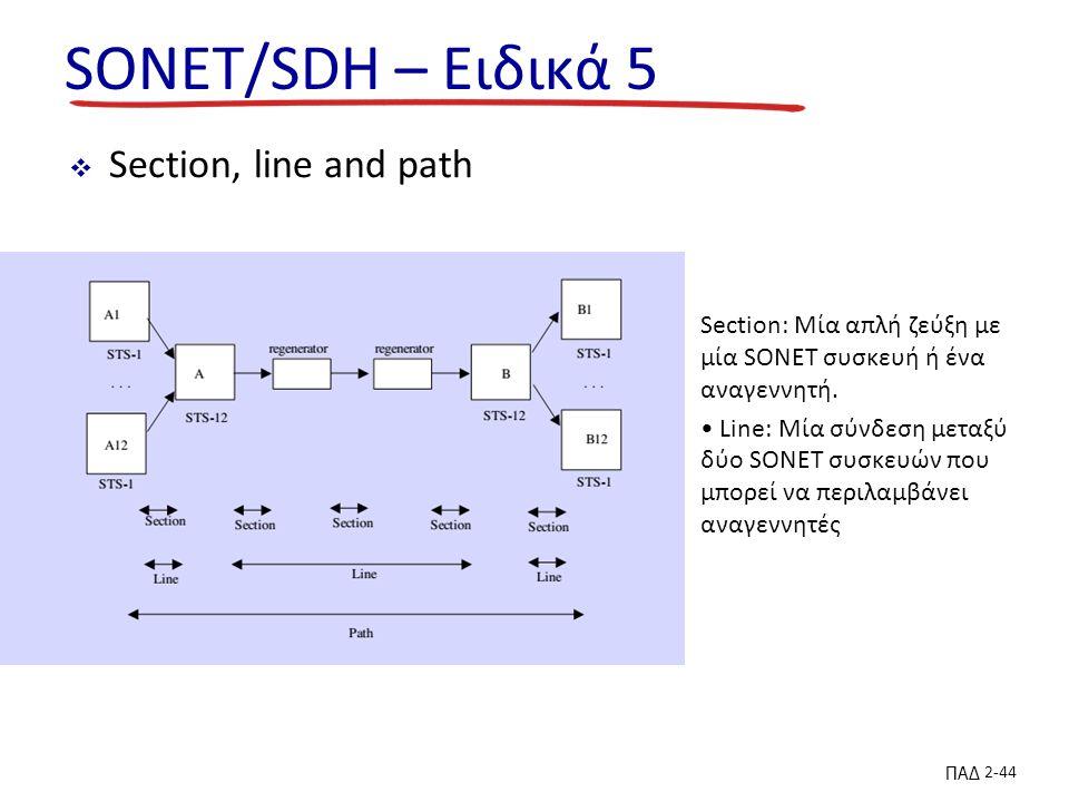 ΠΑΔ 2-44 SONET/SDH – Ειδικά 5  Section, line and path Section: Μία απλή ζεύξη με μία SONET συσκευή ή ένα αναγεννητή.