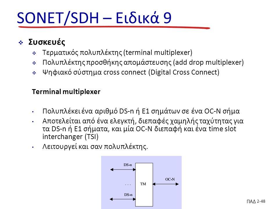 ΠΑΔ 2-48 SONET/SDH – Ειδικά 9  Συσκευές  Τερματικός πολυπλέκτης (terminal multiplexer)  Πολυπλέκτης προσθήκης απομάστευσης (add drop multiplexer)  Ψηφιακό σύστημα cross connect (Digital Cross Connect) Terminal multiplexer Πολυπλέκει ένα αριθμό DS-n ή E1 σημάτων σε ένα OC-N σήμα Αποτελείται από ένα ελεγκτή, διεπαφές χαμηλής ταχύτητας για τα DS-n ή E1 σήματα, και μία OC-N διεπαφή και ένα time slot interchanger (TSI) Λειτουργεί και σαν πολυπλέκτης.