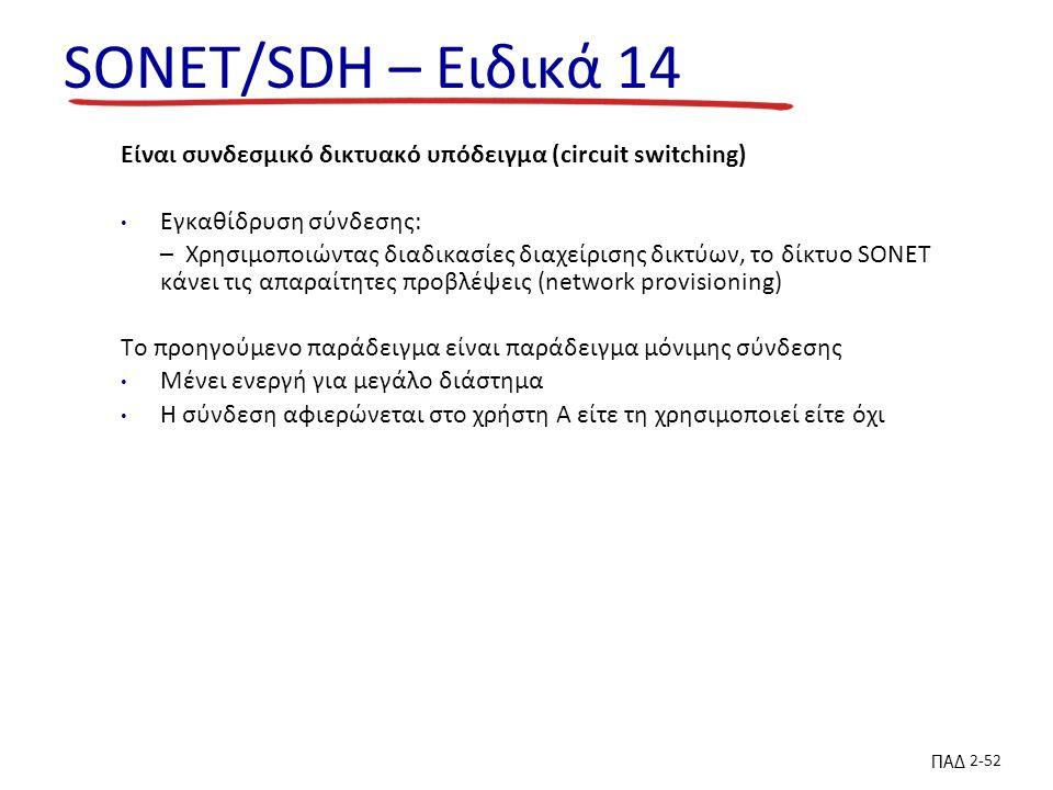 ΠΑΔ 2-52 SONET/SDH – Ειδικά 14 Είναι συνδεσμικό δικτυακό υπόδειγμα (circuit switching) Εγκαθίδρυση σύνδεσης: – Χρησιμοποιώντας διαδικασίες διαχείρισης δικτύων, το δίκτυο SONET κάνει τις απαραίτητες προβλέψεις (network provisioning) To προηγούμενο παράδειγμα είναι παράδειγμα μόνιμης σύνδεσης Μένει ενεργή για μεγάλο διάστημα Η σύνδεση αφιερώνεται στο χρήστη Α είτε τη χρησιμοποιεί είτε όχι