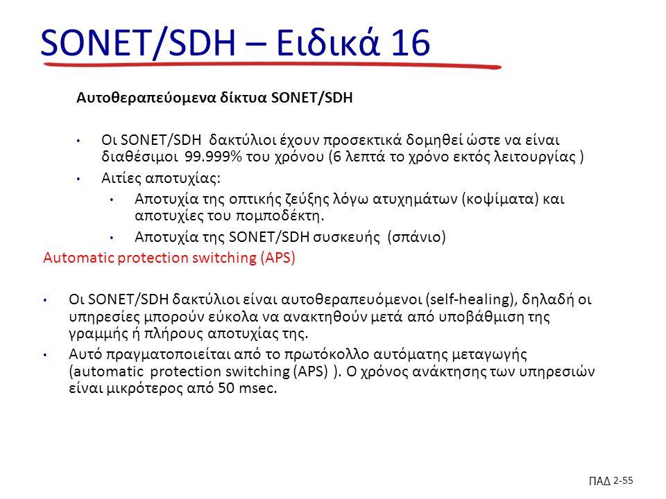 ΠΑΔ 2-55 SONET/SDH – Ειδικά 16 Αυτοθεραπεύομενα δίκτυα SONET/SDH Οι SONET/SDH δακτύλιοι έχουν προσεκτικά δομηθεί ώστε να είναι διαθέσιμοι 99.999% του χρόνου (6 λεπτά το χρόνο εκτός λειτουργίας ) Αιτίες αποτυχίας: Αποτυχία της οπτικής ζεύξης λόγω ατυχημάτων (κοψίματα) και αποτυχίες του πομποδέκτη.