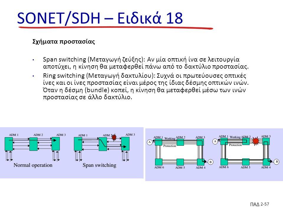 ΠΑΔ 2-57 SONET/SDH – Ειδικά 18 Σχήματα προστασίας Span switching (Μεταγωγή ζεύξης): Αν μία οπτική ίνα σε λειτουργία αποτύχει, η κίνηση θα μεταφερθεί πάνω από το δακτύλιο προστασίας.