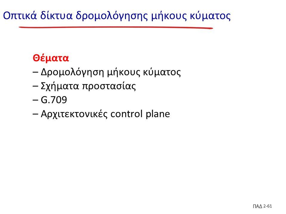 ΠΑΔ 2-61 Οπτικά δίκτυα δρομολόγησης μήκους κύματος Θέματα – Δρομολόγηση μήκους κύματος – Σχήματα προστασίας – G.709 – Αρχιτεκτονικές control plane