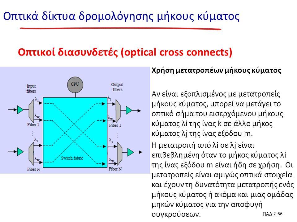 ΠΑΔ 2-66 Οπτικά δίκτυα δρομολόγησης μήκους κύματος Οπτικοί διασυνδετές (optical cross connects) Χρήση μετατροπέων μήκους κύματος Αν είναι εξοπλισμένος με μετατροπείς μήκους κύματος, μπορεί να μετάγει το οπτικό σήμα του εισερχόμενου μήκους κύματος λi της ίνας k σε άλλο μήκος κύματος λj της ίνας εξόδου m.