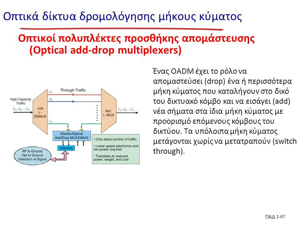 ΠΑΔ 2-67 Οπτικά δίκτυα δρομολόγησης μήκους κύματος Οπτικοί πολυπλέκτες προσθήκης απομάστευσης (Optical add-drop multiplexers) Ένας OADM έχει το ρόλο να απομαστεύσει (drop) ένα ή περισσότερα μήκη κύματος που καταλήγουν στο δικό του δικτυακό κόμβο και να εισάγει (add) νέα σήματα στα ίδια μήκη κύματος με προορισμό επόμενους κόμβους του δικτύου.