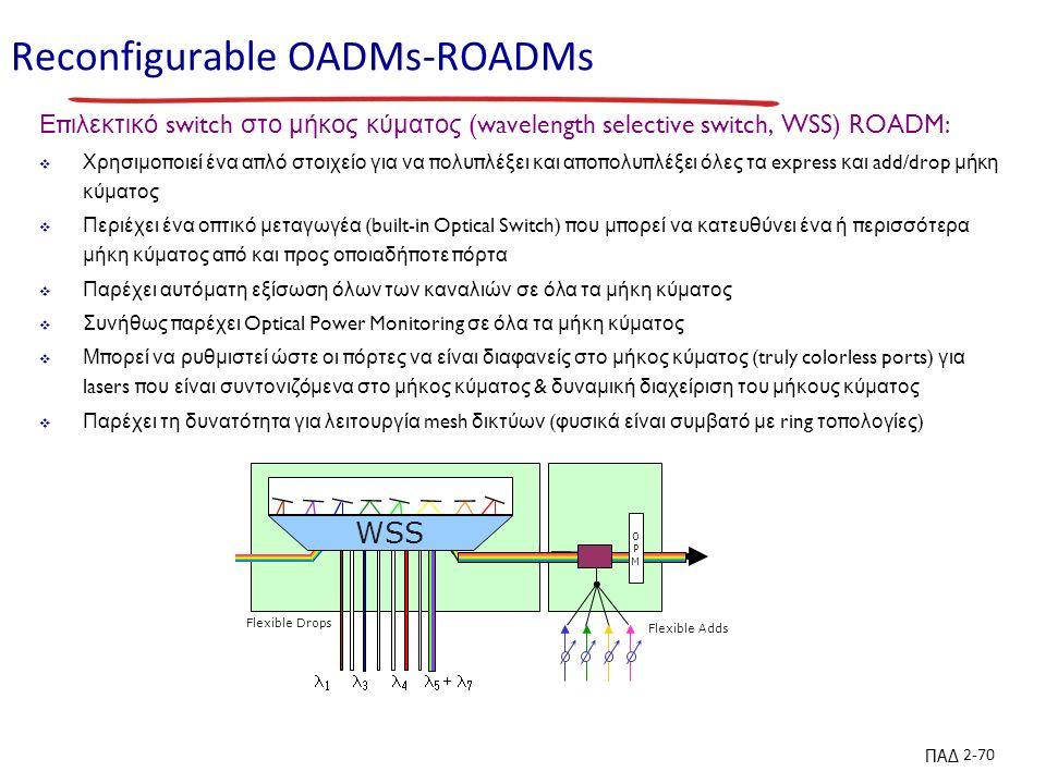 ΠΑΔ 2-70 Reconfigurable OADMs-ROADMs Ε π ιλεκτικό switch στο μήκος κύματος (wavelength selective switch, WSS) ROADM:  Χρησιμο π οιεί ένα α π λό στοιχείο για να π ολυ π λέξει και α π ο π ολυ π λέξει όλες τα express και add/drop μήκη κύματος  Περιέχει ένα ο π τικό μεταγωγέα (built-in Optical Switch) π ου μ π ορεί να κατευθύνει ένα ή π ερισσότερα μήκη κύματος α π ό και π ρος ο π οιαδή π οτε π όρτα  Παρέχει αυτόματη εξίσωση όλων των καναλιών σε όλα τα μήκη κύματος  Συνήθως π αρέχει Optical Power Monitoring σε όλα τα μήκη κύματος  Μ π ορεί να ρυθμιστεί ώστε οι π όρτες να είναι διαφανείς στο μήκος κύματος (truly colorless ports) για lasers π ου είναι συντονιζόμενα στο μήκος κύματος & δυναμική διαχείριση του μήκους κύματος  Παρέχει τη δυνατότητα για λειτουργία mesh δικτύων ( φυσικά είναι συμβατό με ring το π ολογίες ) MP-WSS Flexible Drops Flexible Adds WSS       OPMOPM