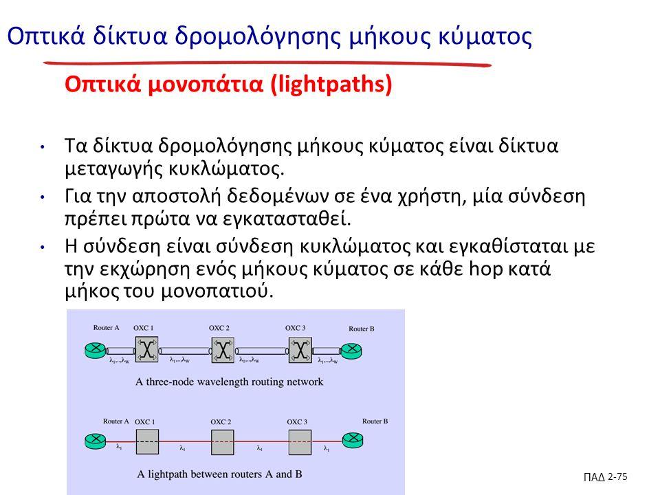 ΠΑΔ 2-75 Οπτικά δίκτυα δρομολόγησης μήκους κύματος Οπτικά μονοπάτια (lightpaths) Τα δίκτυα δρομολόγησης μήκους κύματος είναι δίκτυα μεταγωγής κυκλώματος.
