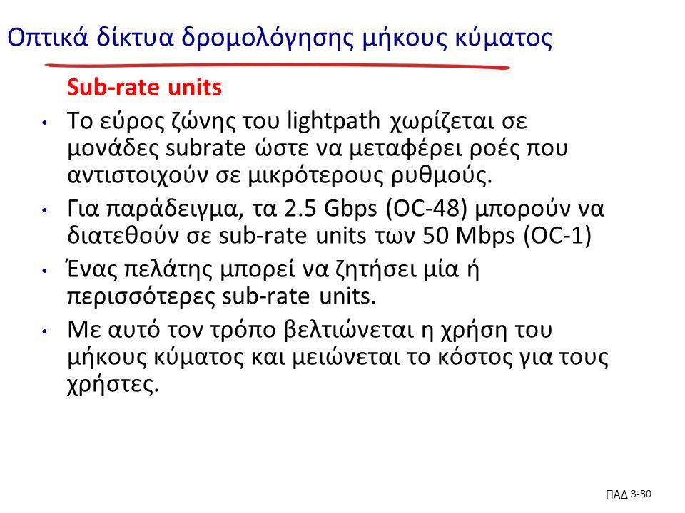 ΠΑΔ 3-80 Οπτικά δίκτυα δρομολόγησης μήκους κύματος Sub-rate units To εύρος ζώνης του lightpath χωρίζεται σε μονάδες subrate ώστε να μεταφέρει ροές που αντιστοιχούν σε μικρότερους ρυθμούς.