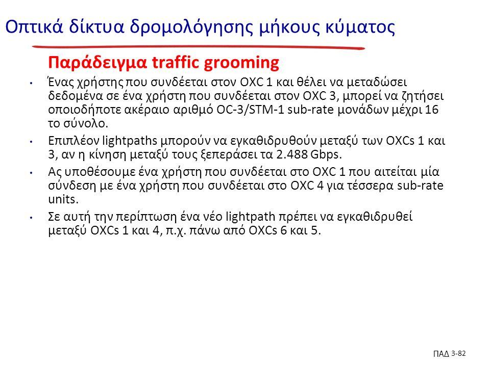ΠΑΔ 3-82 Οπτικά δίκτυα δρομολόγησης μήκους κύματος Παράδειγμα traffic grooming Ένας χρήστης που συνδέεται στον OXC 1 και θέλει να μεταδώσει δεδομένα σε ένα χρήστη που συνδέεται στον OXC 3, μπορεί να ζητήσει οποιοδήποτε ακέραιο αριθμό OC-3/STM-1 sub-rate μονάδων μέχρι 16 το σύνολο.
