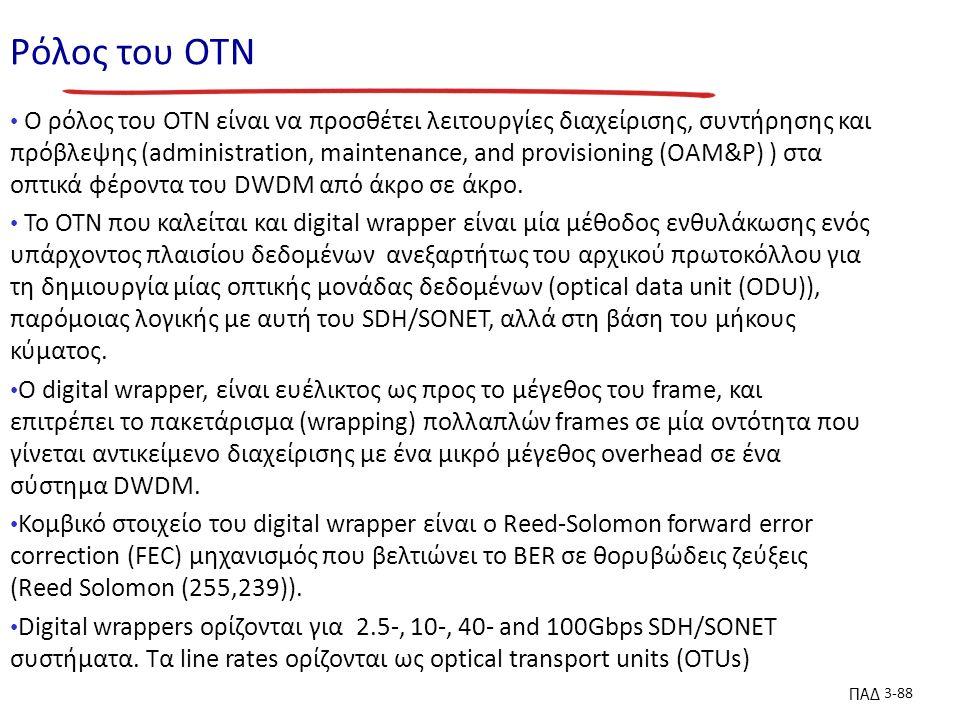 ΠΑΔ 3-88 Ρόλος του ΟΤΝ Ο ρόλος του OTN είναι να προσθέτει λειτουργίες διαχείρισης, συντήρησης και πρόβλεψης (administration, maintenance, and provisioning (OAM&P) ) στα οπτικά φέροντα του DWDM από άκρο σε άκρο.