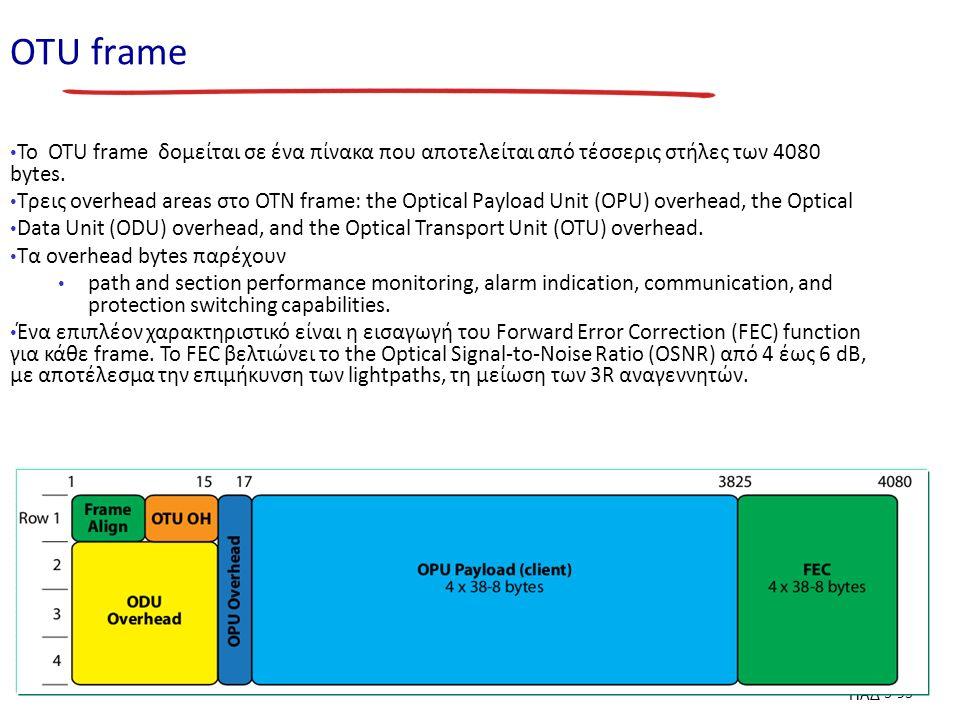 ΠΑΔ 3-93 ΟΤU frame To OTU frame δομείται σε ένα πίνακα που αποτελείται από τέσσερις στήλες των 4080 bytes.
