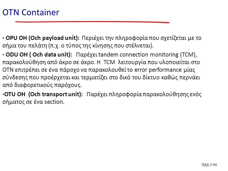 ΠΑΔ 3-94 ΟΤΝ Container OPU OH (Och payload unit): Περιέχει την πληροφορία που σχετίζεται με το σήμα του πελάτη (π.χ.