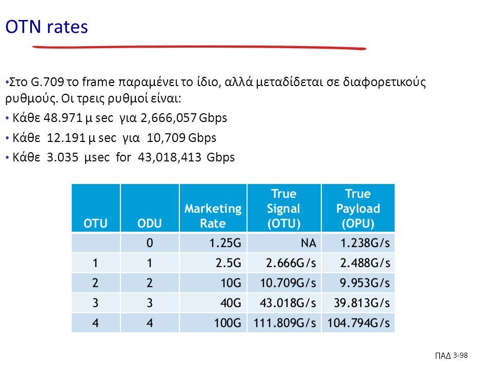ΠΑΔ 3-98 ΟΤN rates Στο G.709 το frame παραμένει το ίδιο, αλλά μεταδίδεται σε διαφορετικούς ρυθμούς.