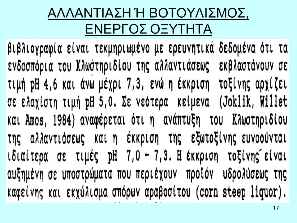 18 Το pH και η πρόληψη του βοτουλισμού. Απαιτεί pH > 4,6