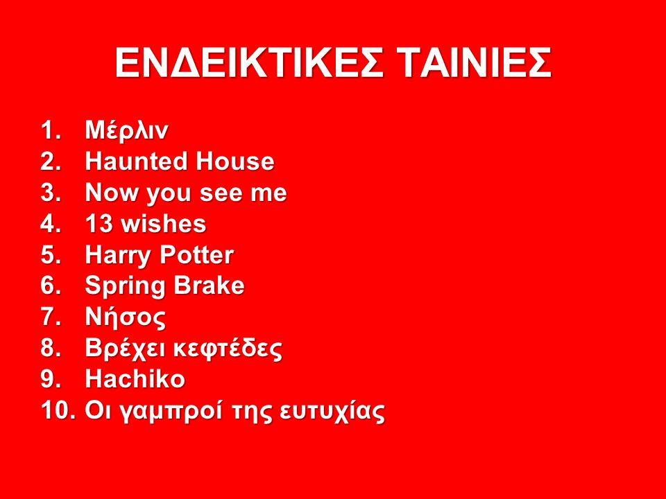 ΕΝΔΕΙΚΤΙΚΕΣ ΤΑΙΝΙΕΣ 1.Μέρλιν 2.Haunted House 3.Now you see me 4.13 wishes 5.Harry Potter 6.Spring Brake 7.Νήσος 8.Βρέχει κεφτέδες 9.Hachiko 10.Οι γαμπροί της ευτυχίας