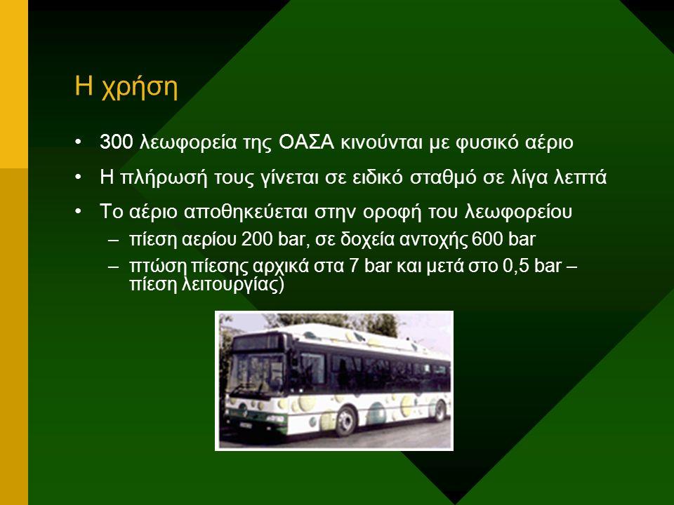 Η χρήση 300 λεωφορεία της ΟΑΣΑ κινούνται με φυσικό αέριο Η πλήρωσή τους γίνεται σε ειδικό σταθμό σε λίγα λεπτά Το αέριο αποθηκεύεται στην οροφή του λεωφορείου –πίεση αερίου 200 bar, σε δοχεία αντοχής 600 bar –πτώση πίεσης αρχικά στα 7 bar και μετά στο 0,5 bar – πίεση λειτουργίας)