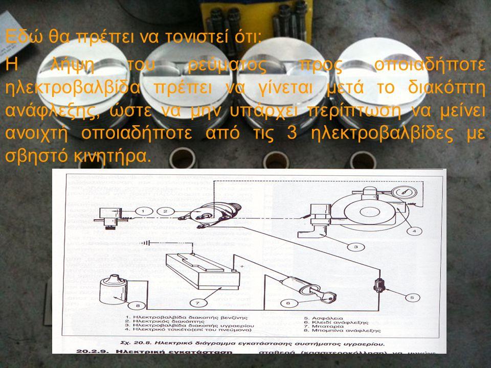 Εδώ θα πρέπει να τονιστεί ότι: Η λήψη του ρεύματος προς οποιαδήποτε ηλεκτροβαλβίδα πρέπει να γίνεται μετά το διακόπτη ανάφλεξης, ώστε να μην υπάρχει π