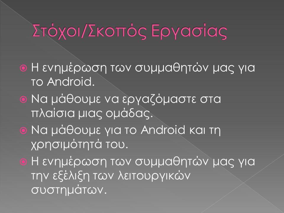  Η ενημέρωση των συμμαθητών μας για το Android.