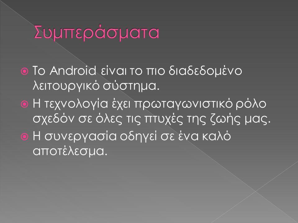  Το Android είναι το πιο διαδεδομένο λειτουργικό σύστημα.