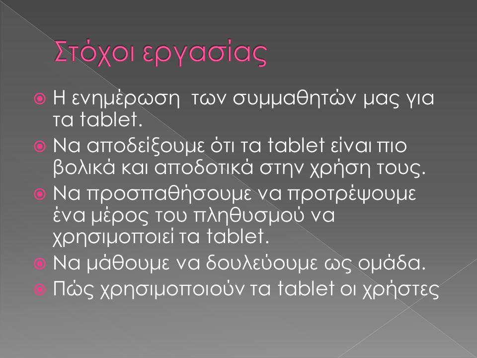  Η ενημέρωση των συμμαθητών μας για τα tablet.