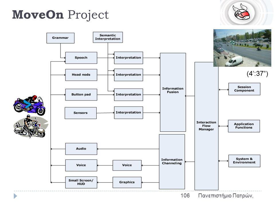 MoveOn Project  Πολυτροπική, Πολυαισθητήρια πρόσβαση σε πληροφορίες για Μοτοσικλετιστές  (Multi-modal and multi-sensor zero-distraction interaction interface for two wheel vehicles ONthe move)  Πολυαισθητήρια πρόσβαση σε πληροφορίες  Ανάπτυξη διεπαφής ομιλίας για μοτοσικλετιστές  Χειρισμός κάμερας  Επικοινωνία μέσω ασυρμάτου  Εύρεση πινακίδας  Αποφυγή απόσπασης της προσοχής 105 Πανεπιστήμιο Πατρών,