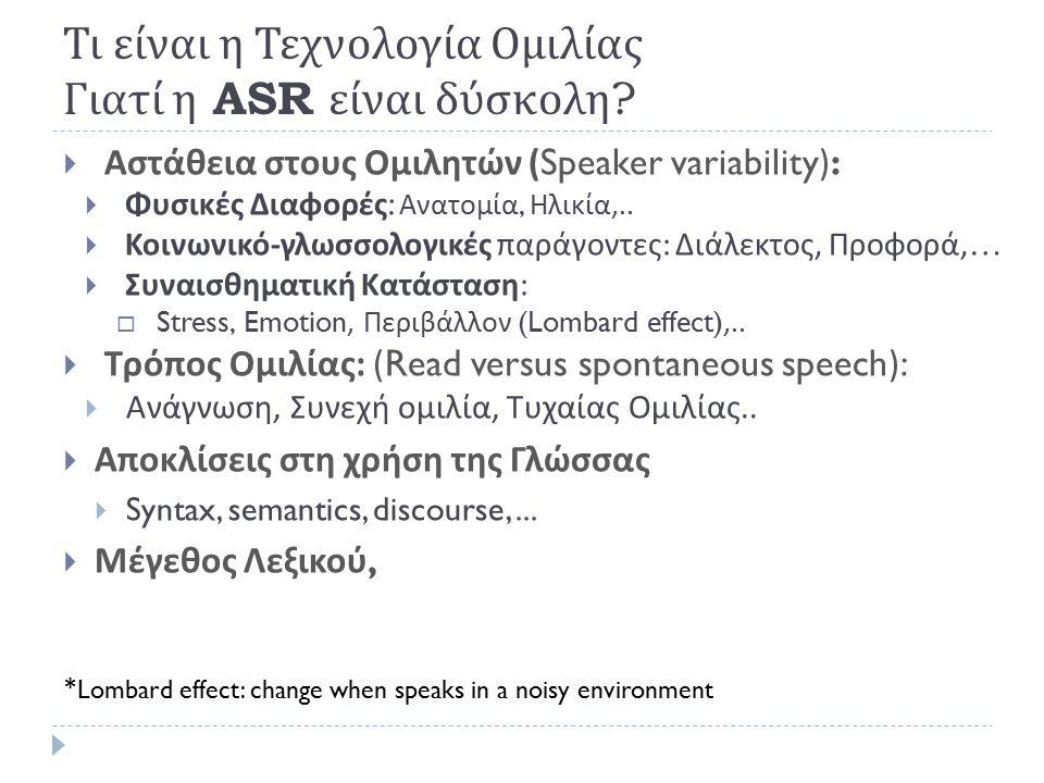 Τι Περιλαμβάνει η Τεχνολογία Ομιλίας Αξιοπιστία Α SR: (Lippmann, 1997) Corpus Speech Type Lex.
