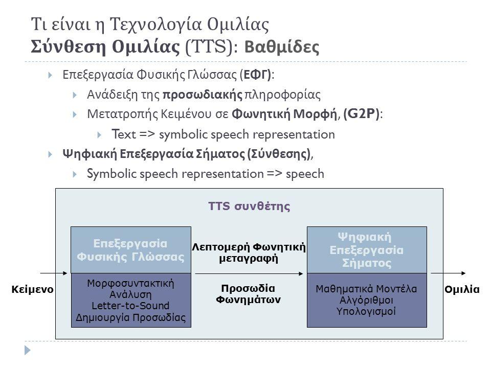  Σύνθεση ομιλίας ( Κείμενο → Ομιλία ) (Text-To-Speech, -TTS)  Input: Text (a string of words)  Output: Speech (a wavefile)  Τεχνικές :  στο πεδίο του χρόνου (PSOLA, LPC-Vocoders, κ.
