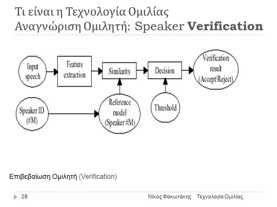27  Ανάλογα με το κείμενο  Αναγνώριση Εξαρτημένη Κειμένου (Text Depended)  Αναγνώριση Ανεξάρτητη Κειμένου (Text Independed)  Πλήθος Ομιλητών (Speaker set)  Διάκριση Περιβάλλοντος (Environment)  Καθαρό Περιβάλλον  Περιβάλλον Θορύβου  Αξιοπιστία  75%-99% Τι είναι η Τεχνολογία Ομιλίας Αναγνώριση Ομιλητή : Διάκριση Συστημάτων