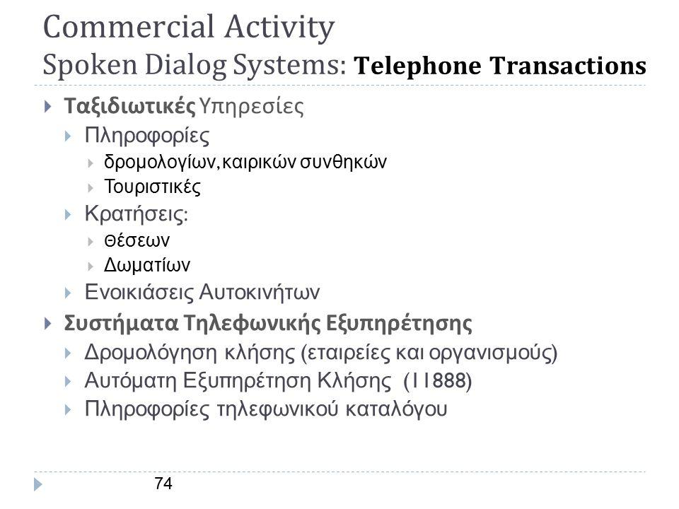 Commercial Activity Διαλογικά Συστήματα : Telephone Transactions  Τηλε - Τραπεζικά Συστήματα (banking),  Πληροφορίες :  Λογιαριασμών  Δανείων,  Πληροφορίες Χρηματιστηρίου, Συνάλλαγμα, Μετοχές, Επενδύσεις  Μεταφορά χρημάτων  Εμπόριο - Αγορά  Τηλε - παραγγελίες  Πληροφορίες :  Για νέα προϊόντα  Για αποστολή προϊόντων  Τεχνικές πληροφορίες για προϊόντα 73