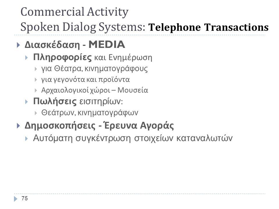  Ταξιδιωτικές Υπηρεσίες  Πληροφορίες  δρομολογίων, καιρικών συνθηκών  Τουριστικές  Κρατήσεις :  Θέσεων  Δωματίων  Ενοικιάσεις Αυτοκινήτων  Συστήματα Τηλεφωνικής Εξυπηρέτησης  Δρομολόγηση κλήσης ( εταιρείες και οργανισμούς )  Αυτόματη Εξυπηρέτηση Κλήσης (11888)  Πληροφορίες τηλεφωνικού καταλόγου 74 Commercial Activity Spoken Dialog Systems: Telephone Transactions