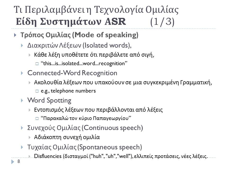 State of the Art: Τι Δουλεύει καλά Σήμερα  Τα καλύτερα ερευνητικά Συστήματα :  Human-human speech: ~13-20% Word Error Rate (WER)  Human-machine speech: ~3-5% WER  Υψηλής αξιοπιστίας Συστήματα ASR,  Μεγάλου λεξιλογίου (~20,000-60,000 words or more…)  Συνεχούς Ομιλίας,  Ανεξάρτητα ομιλητή ( Συνεργάσιμοι Ομιλητές ),  Περιορισμένου Θορύβου ( Φιλικό Περιβάλλον ),  Μέτριου Λεξιλογίου,  Τυχαία Ομιλία  Μέσω τηλεφώνου  Το λάθος αναγνώρισης :  Τυχαίας Ομιλίας διπλάσιο ομιλίας από ανάγνωση.