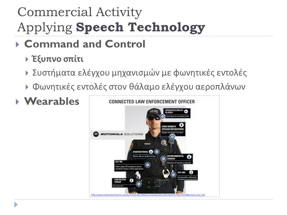 Commercial Activity Applying Speech Technology  Communication ( Κωδικοποίηση Ομιλίας ),  Δορυφορικές Επικοινωνίες (INMARSAT-M κλπ )  Κινητή Τηλεφωνία  Συμπίεση και Αποθήκευση Δεδομένων