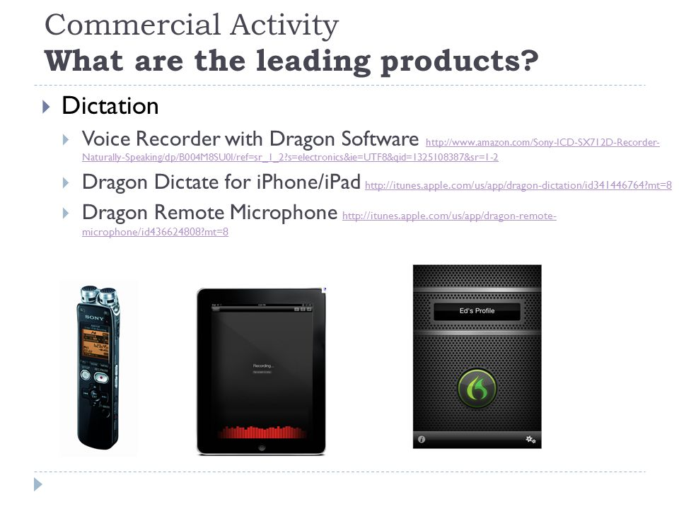 Commercial Activity What are the leading products.