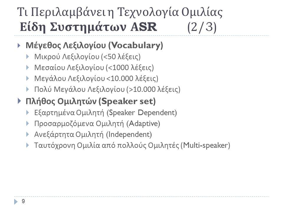 9 Τι Περιλαμβάνει η Τεχνολογία Ομιλίας Είδη Συστημάτων Α SR (2/3)  Μέγεθος Λεξιλογίου (Vocabulary)  Μικρού Λεξιλογίου (<50 λέξεις )  Μεσαίου Λεξιλογίου (<1000 λέξεις )  Μεγάλου Λεξιλογίου <10.000 λέξεις )  Πολύ Μεγάλου Λεξιλογίου (>10.000 λέξεις )  Πλήθος Ομιλητών (Speaker set)  Εξαρτημένα Ομιλητή (Speaker Dependent)  Προσαρμοζόμενα Ομιλητή (Adaptive)  Ανεξάρτητα Ομιλητή (Independent)  Ταυτόχρονη Ομιλία από πολλούς Ομιλητές (Multi-speaker)